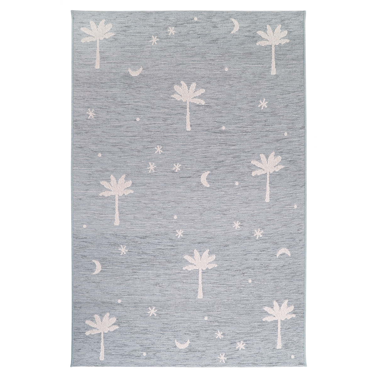 Tapis enfant motif palmier PALM DREAM bleu gris